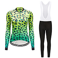 FirtySnow Women's Long Sleeve Cycling Jersey with Bib Tights White Black Leopard Bike Clothing Suit Windproof Fleece Lining Winter Sports Polyester Leopard Mountain Bike MTB Road Bike Cycling