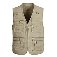 Men's Hiking Vest / Gilet Fishing Vest Outdoor Windproof Fast Dry Quick Dry Wearable Top Denim Single Slider Fishing Outdoor Exercise White / Army Green / Grey / Multi Pocket