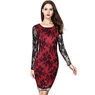 Women's Daily Boho Slim Sheath Dress - Floral Lace Print Black Red XL XXL XXXL