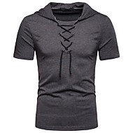 Men's Daily Basic EU / US Size T-shirt - Solid Colored Lace up Shirt Collar Dark Gray / Short Sleeve