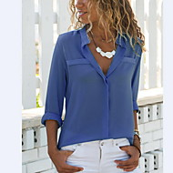 2019 New Arrival Shirts Women's Shirt - Solid Colored Chiffon Shirt Collar White XL Camisas Mujer Chemise Femme