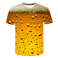 billige -Herre T-shirt Grafisk Øl Trykt mønster Toppe Basale Gade Rund hals Lilla Rød Gul / Kortærmet