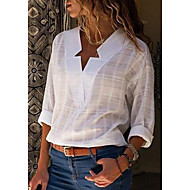 Women's Plus Size Cotton Shirt - Solid Colored V Neck
