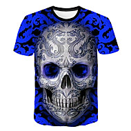 Men's Daily Club Basic / Street chic T-shirt - Skull Print Round Neck Blue / Short Sleeve