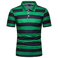 Men's Daily EU / US Size Slim Polo - Striped Shirt Collar Green / Short Sleeve