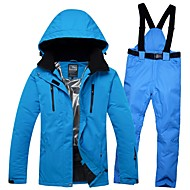RIVIYELE Men's Ski Jacket with Pants Windproof Warm Breathability Winter Sports Cotton POLY Denim Clothing Suit Ski Wear