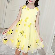 Kinderen Meisjes leuke Style Dagelijks Bloemen Print Mouwloos Tot de knie Polyester Jurk blauw
