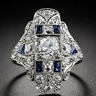 Women's Statement Ring Synthetic Sapphire 1pc Blue Silver-Plated Alloy Geometric Luxury European Wedding Gift Jewelry Hollow Out Pave Flower Cool