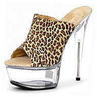 Women's PU(Polyurethane) Spring &  Fall Sweet / Minimalism Sandals Stiletto Heel Round Toe Black / White / Leopard / White / Yellow / Party & Evening