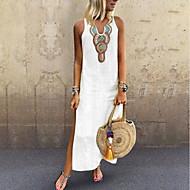Women's Boho Elegant Shift Dress - Solid Colored Tribal Split Patchwork Gray Yellow Wine XXXL XXXXL XXXXXL