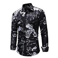 Men's EU / US Size Slim Shirt - Floral Black / Long Sleeve