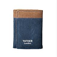 Men's Zipper Canvas Wallet Blue / Coffee
