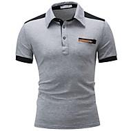 Men's Cotton Polo - Color Block Patchwork Shirt Collar Black