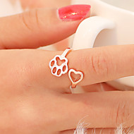 Women's Open Ring Tail Ring thumb ring 1pc Black Silver Rose Gold Copper Round Unusual Simple Unique Design Daily Jewelry Hollow Cat Cat Claw Heart