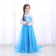 Princess Dress Cosplay Costume Girls' Movie Cosplay Retro / Vintage Princess Blue Dress Halloween Masquerade Tulle Cotton