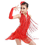 Latin Dance / Kids' Dancewear Outfits Girls' Training / Performance Nylon / Elastic Tassel / Crystals / Rhinestones / Paillette Sleeveless Leotard / Onesie / Gloves / Earrings
