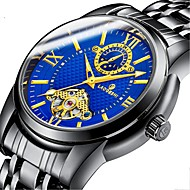 Men's Mechanical Watch Automatic self-winding Black / Silver 30 m Water Resistant / Waterproof Noctilucent Moon Phase Analog Luxury Fashion - Black Dark Blue Light Blue