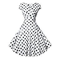 Women's Vintage 1950s A Line Dress - Polka Dot Print Wrap V Neck White Black Light Blue L XL XXL