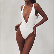 Women's Sporty Basic White Black Fuchsia Triangle Cheeky One-piece Swimwear - Solid Colored Backless S M L White