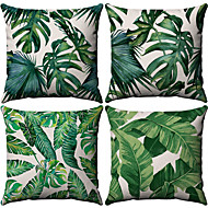 4 pcs Cotton / Linen Pillow Case, Botanical Pattern Patterned Tropical