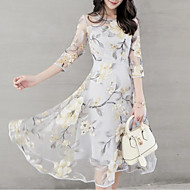Fashion Floral Dresses Women's Sophisticated Elegant Chiffon Dress - Geometric Pleated Print White Gray Yellow L XL XXL