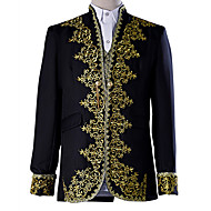 Prince Cosplay Costume Blazer Jacket & Pants Tuxedo Tailcoat Men's Baroque Medieval 18th Century Masquerade Halloween Carnival Festival / Holiday Lace Polyester Black / White Men's Carnival Costumes
