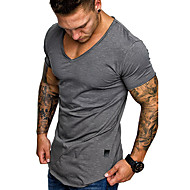 Men's EU / US Size T-shirt - Solid Colored V Neck Dark Gray