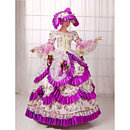 Rococo Victorian 18th Century Dress Party Costume Masquerade Women's Lace Cotton Costume Purple Vintage Cosplay Long Length Ball Gown / Floral / Hat