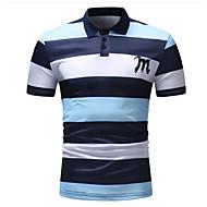 Men's Cotton Polo - Striped Shirt Collar Blue / Short Sleeve / Summer