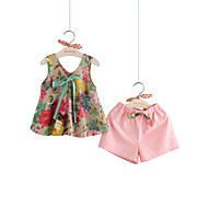 Toddler Girls' Active Street chic Party Daily Solid Colored Floral Bow Print Sleeveless Regular Regular Cotton Linen Clothing Set Blushing Pink
