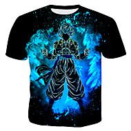 Men's Cotton T-shirt - 3D / Cartoon Print Round Neck Black