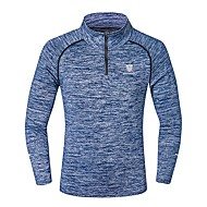 cheap -Men's Running Shirt Long Sleeve Elastane Quick Dry Sweat-wicking Fitness Gym Workout Running Sportswear Plus Size Top Blue Light Grey Dark Blue Activewear Stretchy