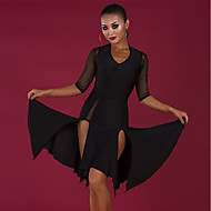 Latin Dance Dresses Women's Performance Spandex Ruching / Split Half Sleeve Dress