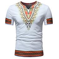 Men's Graphic Tribal Embroidered Print Slim T-shirt - Cotton V Neck White / Black / Blue