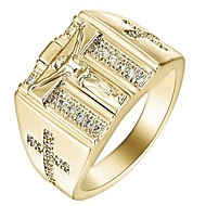 Men's Women's Ring Cubic Zirconia 1pc Gold Silver Stainless steel Alloy Gift Daily Jewelry Cross