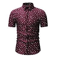 Men's Shirt - Polka Dot Print Classic Collar White
