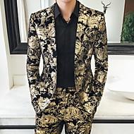 Men's Plus Size Blazer Notch Lapel Polyester Gold / Slim