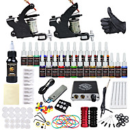 DRAGONHAWK Tattoo Machine Starter Kit - 2 pcs Tattoo Machines with 1 x 30 ml / 28 x 5 ml tattoo inks, Professional, Safety, Easy to Install Alloy Mini power supply Case Not Included 2 alloy machine