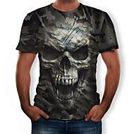 billige -Herre T-shirt 3D Grafisk Dødningehoveder Trykt mønster Toppe Rund hals Army Grøn / camouflage
