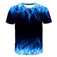 billige -Herre T-shirt Grafisk Flamme Trykt mønster Toppe Rund hals Blå Lilla Orange