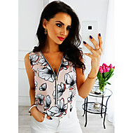 2019 New Arrival Tanks & Camisoles Women's Tank Top - Geometric Floral / Fashion / Print Débardeur Femme V Neck Blushing Pink XL / Spring / Summer / Fall