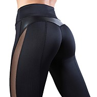 Women's High Waist Yoga Pants Patchwork Heart Black Burgundy Royal Blue Grey Mesh Leather Running Fitness Gym Workout Tights Leggings Sport Activewear Quick Dry Butt Lift Tummy Control Squat Proof