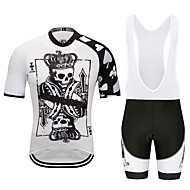 MUBODO Men's Short Sleeve Cycling Jersey with Bib Shorts Black / White Bike Clothing Suit Breathable Quick Dry Reflective Strips Sports Mesh Mountain Bike MTB Road Bike Cycling Clothing Apparel