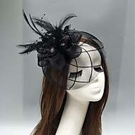 Net Fascinators / Headdress / Headpiece with Feather / Flower / Trim 1 Piece Wedding / Special Occasion Headpiece