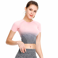 Women's Yoga Top Cropped Color Gradient Purple Green Peach Gray Running Fitness Gym Workout Crop Top Short Sleeve Sport Activewear Moisture Wicking Quick Dry Power Flex 4 Way Stretch High Elasticity
