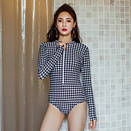 Women's One Piece Swimsuit Swimwear Thermal / Warm Long Sleeve Front Zip - Swimming Patchwork Summer / High Elasticity