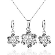 Women's Bridal Jewelry Sets Flower Romantic Sweet Rhinestone Earrings Jewelry Purple / Silver For Wedding Party 1 set