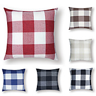 1 pcs Cotton / Linen Pillow Cover, Plaid / Checkered 3D Print Casual Fashion Throw Pillow