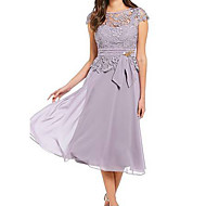 Women's Kentucky Derby Plus Size Going out Chiffon Swing Dress - Solid Colored High Waist Summer Lace Light Blue Purple Fuchsia S M L XL
