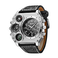 お買い得  -Oulm 男性用 軍用腕時計 リストウォッチ 航空ウォッチ クォーツ 日本産クォーツ 特大の Steampunk 温度計付き ハンズ ブラック Brown / レザー / 2年 / 2タイムゾーン / 2年 / SOXEY SR626SW